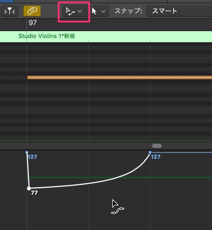 LogicでExpressionを使ってStringsの音量表現をする5