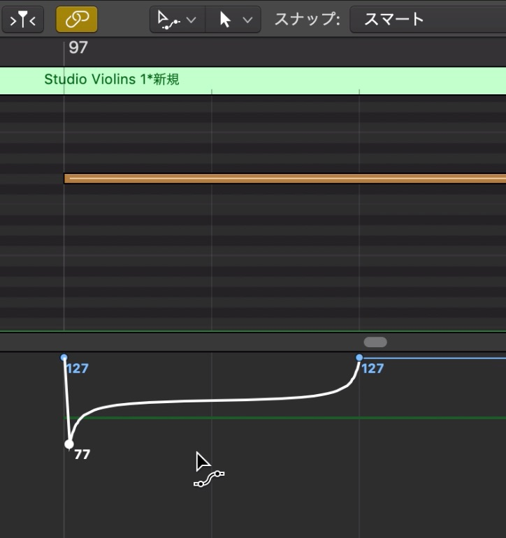 LogicでExpressionを使ってStringsの音量表現をする6