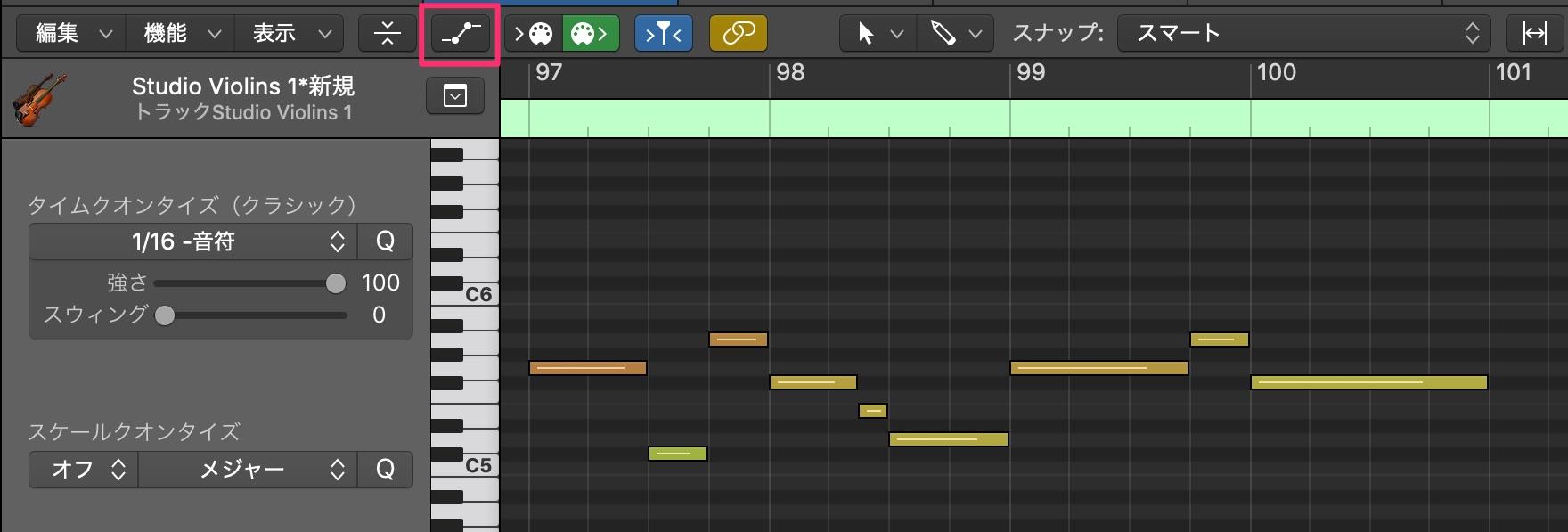 LogicでExpressionを使ってStringsの音量表現をする1